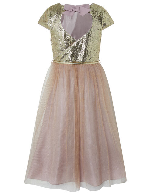 Kylie Gold Sparkle Tiered Prom Dress, Gold (GOLD), large