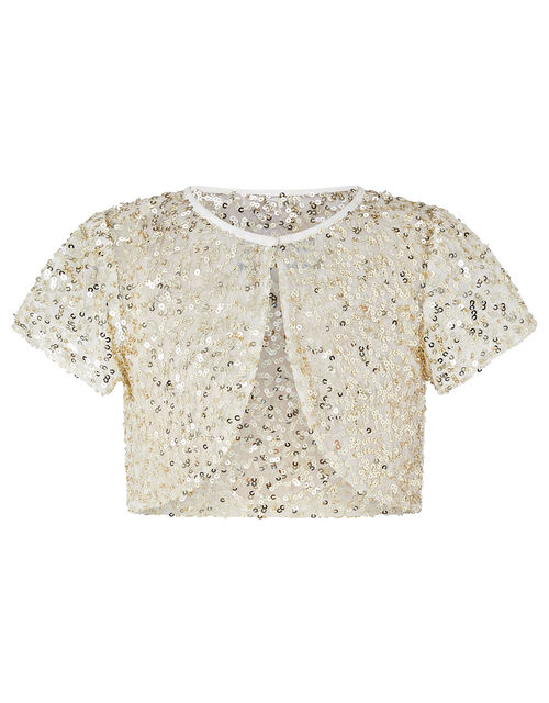 Capelle Pleated Dress with Sequin Cardigan, Ivory (IVORY), large