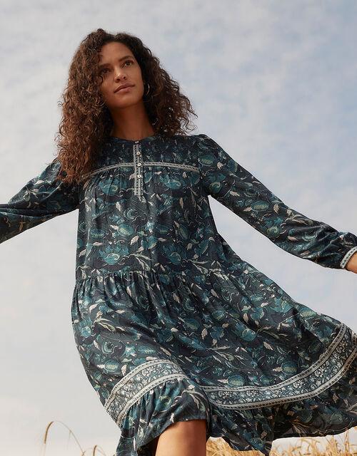 ARTISAN STUDIO Woodblock Print Dress, Teal (TEAL), large