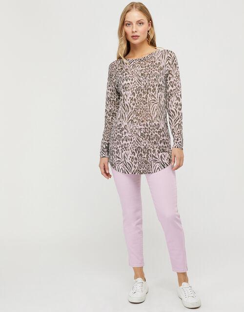 Brandy Leopard Knit Jumper in Linen Blend, Multi (MULTI), large