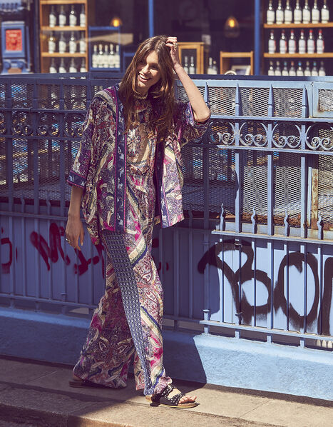 Sequin Paisley Print Kimono Pink, Pink (PINK), large