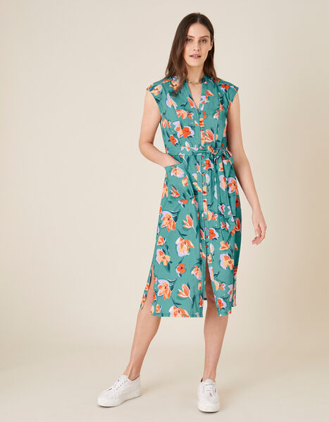 Floral Print Jersey Shirt Dress Blue, Blue (BLUE), large