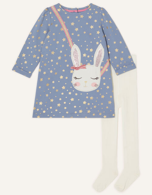 Baby Bunny Sweat Dress and Tights Set, Blue (BLUE), large