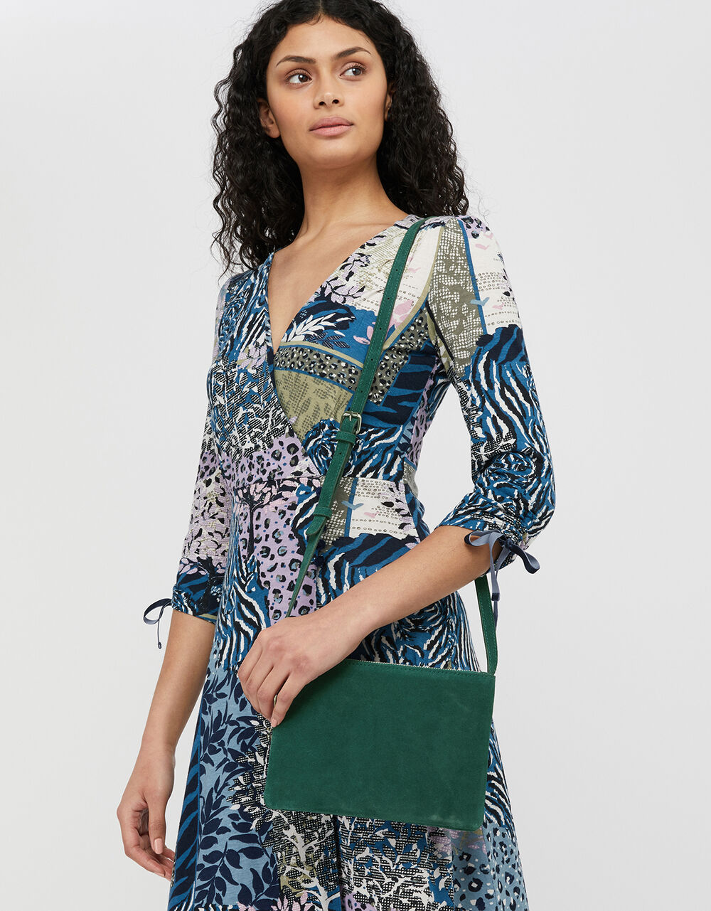 Cara Suede Cross-Body Bag, , large