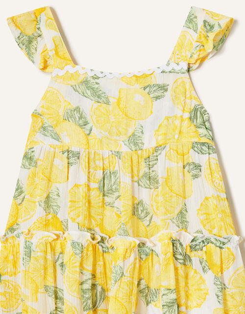 Baby Lemon Print Dress, Yellow (YELLOW), large