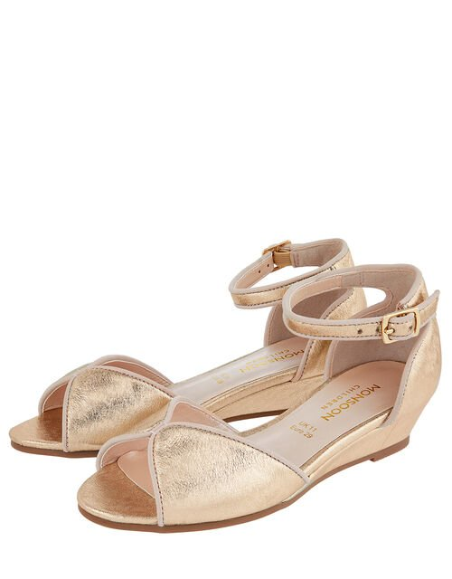 Dawn Shimmer Wedge Shoes, Gold (GOLD), large