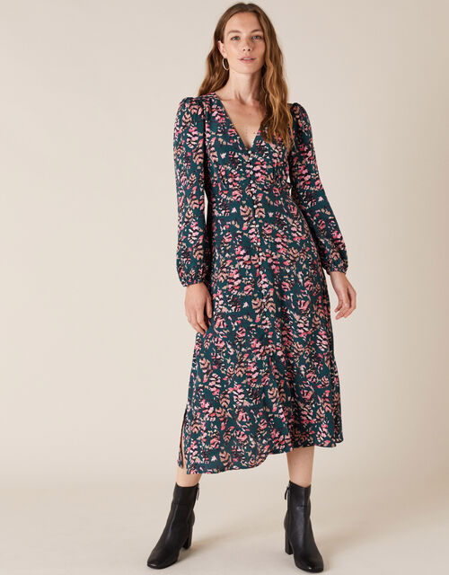 Feather Print Tea Dress in Sustainable Viscose, Green (DARK GREEN), large
