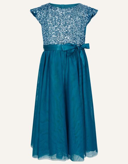 Truth Sequin Flutter Sleeve Dress, Teal (TEAL), large