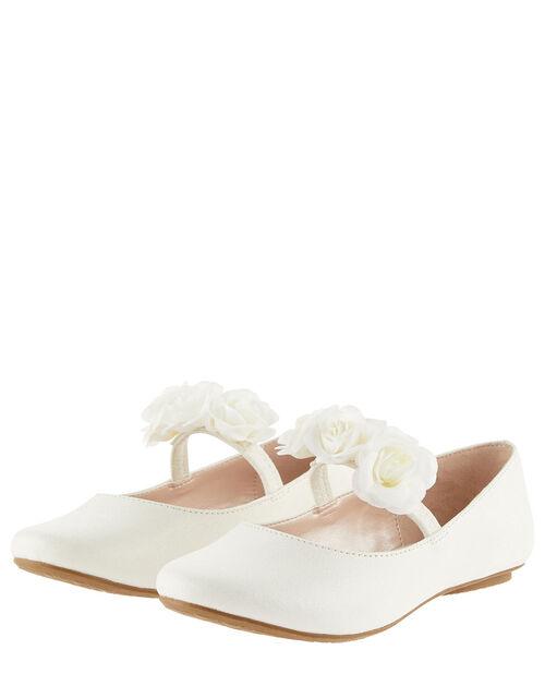 Shimmer Corsage Ballerina Flats , Ivory (IVORY), large