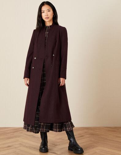 Joey Long Coat in Wool Blend Purple, Purple (PLUM), large