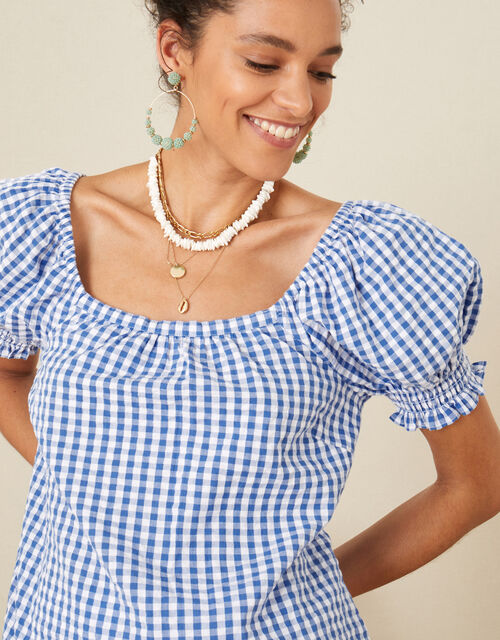 Gingham Top in Pure Cotton, Blue (BLUE), large