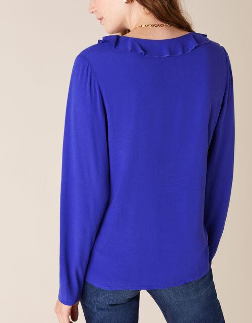 Ruffle Long Sleeve Blouse with LENZING™ ECOVERO™, Blue (COBALT), large