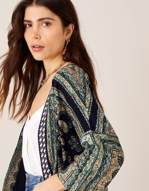 Holly Printed Kimono with LENZING™ ECOVERO™, Blue (BLUE), large