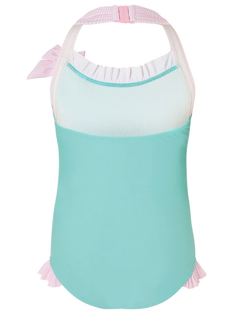 Sequin Shell Halter Swimsuit , Blue (TURQUOISE), large