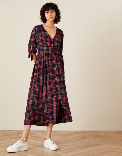 Molly Check Midi Dress, Blue (NAVY), large