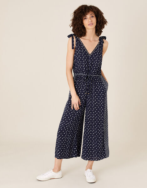 Ditsy Print Jumpsuit in LENZING™ ECOVERO™ Blue, Blue (NAVY), large