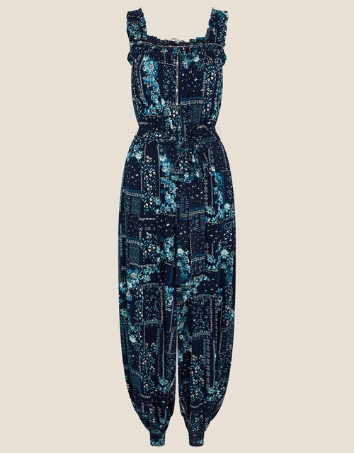 Printed Jersey Hareem Jumpsuit, Blue (NAVY), large