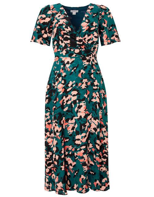 Allegra Animal Print Tea Dress, Teal, large