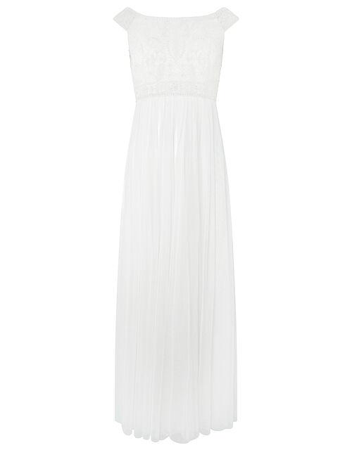 Emmeline Embellished Bardot Bridal Dress, Ivory (IVORY), large
