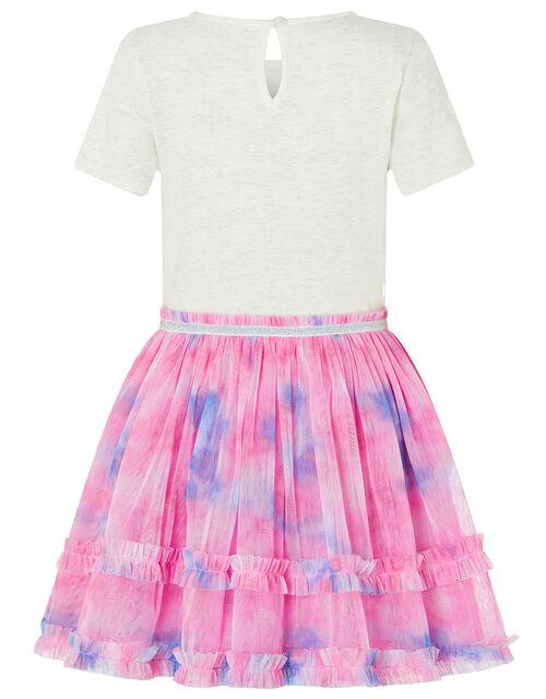 Disco Nina Unicorn Tie-Dye Dress, Ivory (IVORY), large