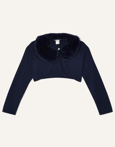Super-Soft Faux Fur Collar Cardigan Blue, Blue (NAVY), large