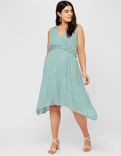 Dottie Sequin Hanky Hem Dress, Blue (BLUE), large