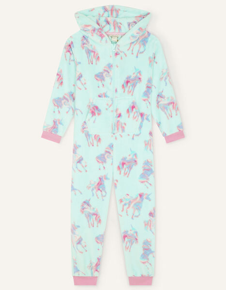 Ada Unicorn Print Sleepsuit Blue, Blue (AQUA), large