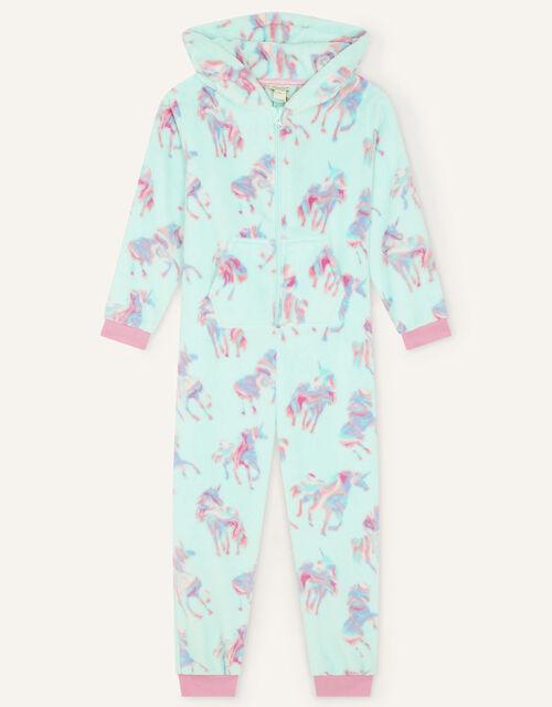 Ada Unicorn Print Sleepsuit, Blue (AQUA), large