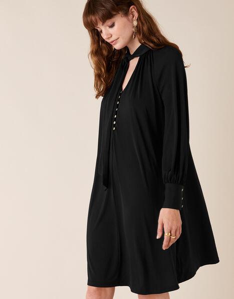 Tie-Neck Smart Short Jersey Dress Black, Black (BLACK), large