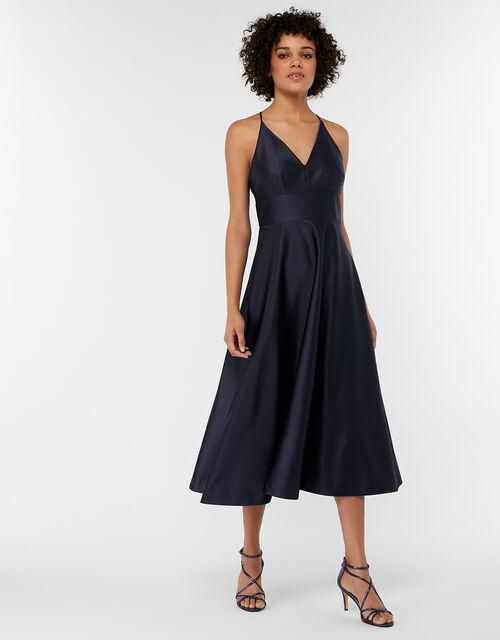 Abbey Satin Bow Midi Dress, Blue (NAVY), large