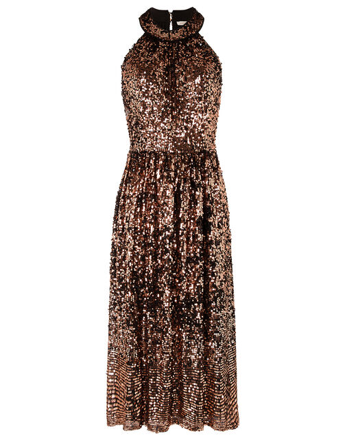 Scarlett Sequin Midi Dress, Bronze, large