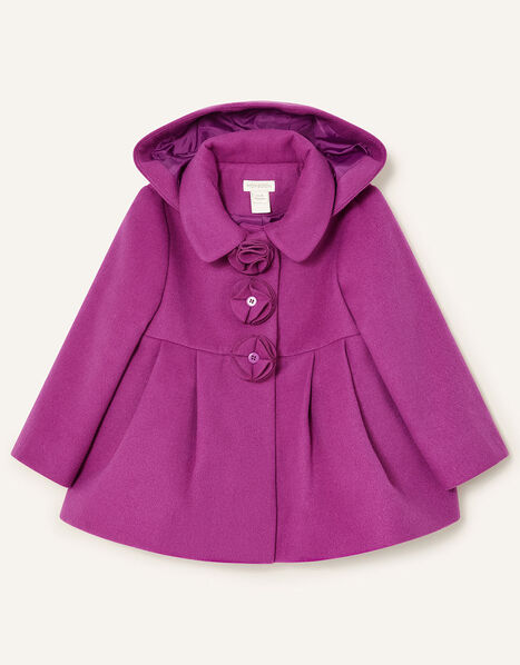 Baby Corsage Hooded Swing Coat Pink, Pink (PINK), large