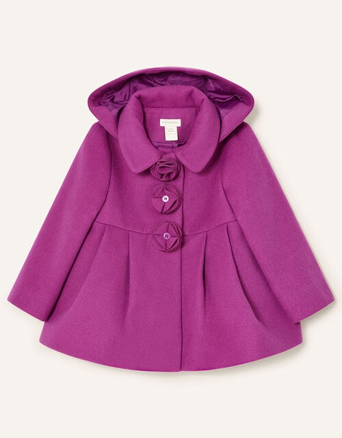 Baby Corsage Hooded Swing Coat, Pink (PINK), large