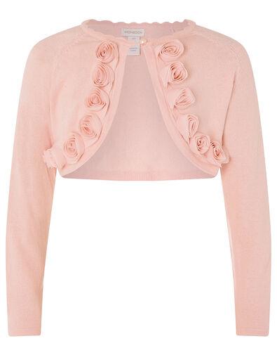3D Flower Trim Crop Cardigan Pink, Pink (PINK), large