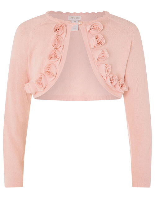 3D Flower Trim Crop Cardigan, Pink (PINK), large