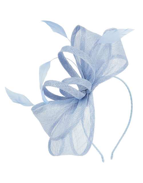 Blair Bow Feather Fascintator, Blue (BLUE), large
