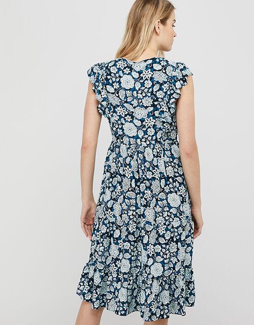 Loana Floral Frill Midi Dress, Blue (BLUE), large