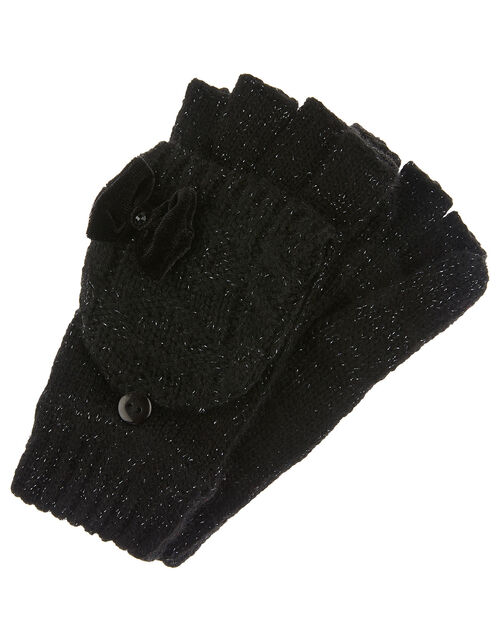 Stella Sparkle Cable Knit Capped Gloves, Black (BLACK), large