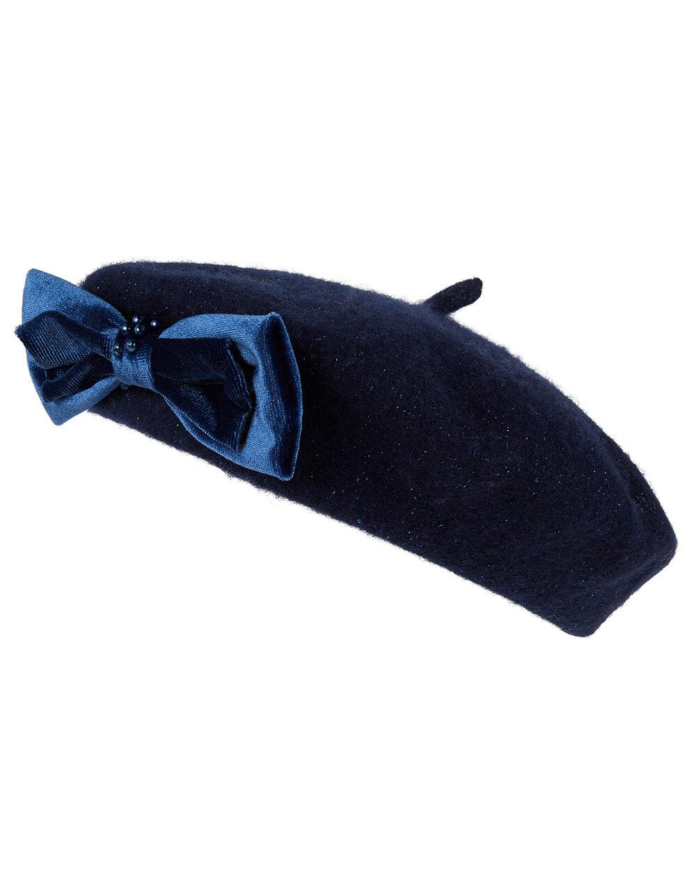 Jamie Velvet Pearl Bow Beret, Blue (NAVY), large