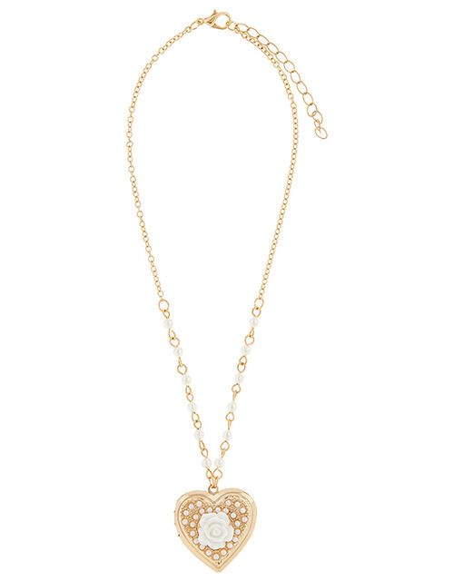 Pearly Rose Locket Necklace, , large
