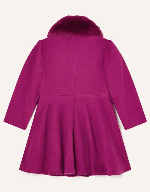 Faux Fur Collar Skirted Coat, Pink (PINK), large