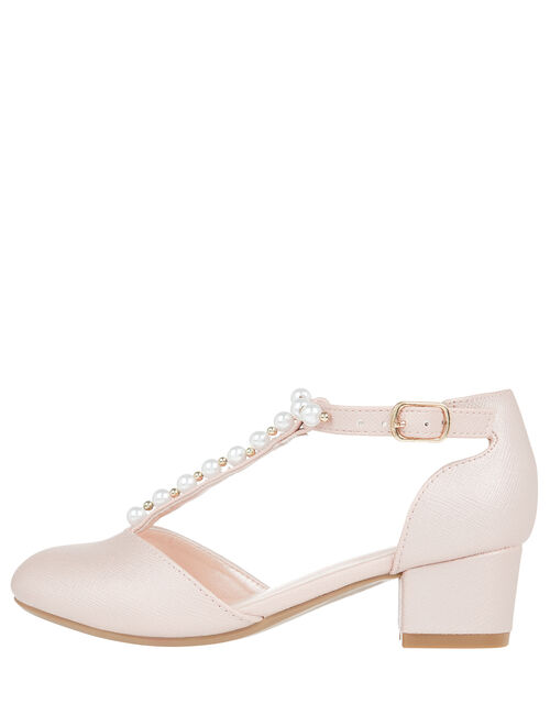Phoebe Shimmer and Pearl T-Bar Shoes, Pink (PALE PINK), large