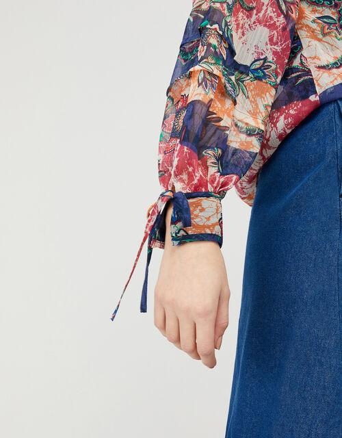 Arjana Printed Blouse with LENZING™ ECOVERO™, Blue (NAVY), large