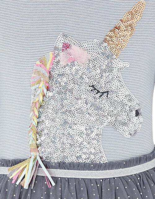 Disco Sequin Unicorn Stripe Dress, Grey (GREY), large