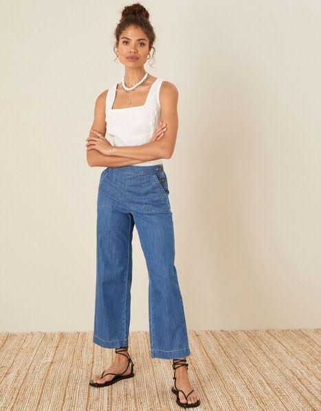 Pull-On Denim Culottes Blue, Blue (DENIM BLUE), large