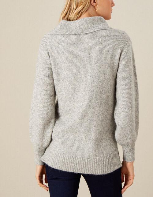 Serenity Split Neck Knit Jumper, Grey (GREY), large