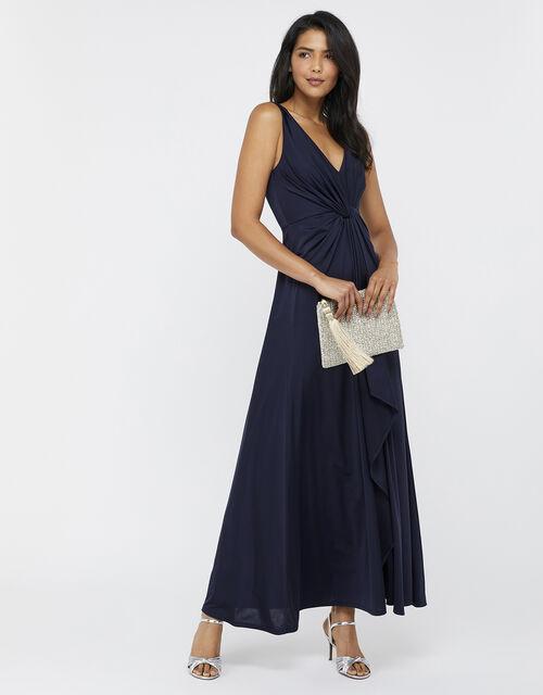 Jessie Jersey Twist V Neck Maxi Dress, Blue (NAVY), large
