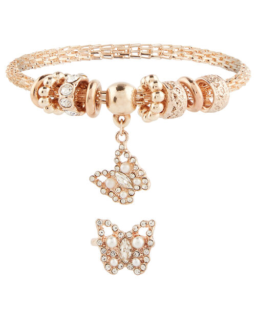 Sparkle Butterfly Bracelet and Ring Set, , large