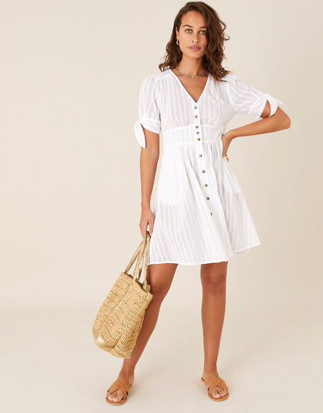 Button-Through Dress in Pure Cotton Ivory, Ivory (IVORY), large