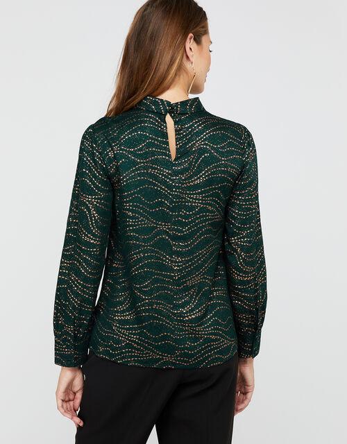Mara Foil Star Print Satin Top, Green, large